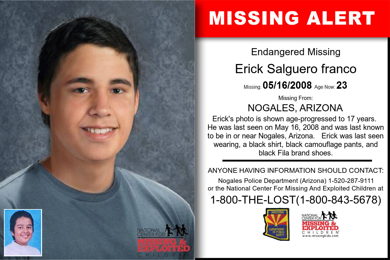 ERICK_SALGUERO_FRANCO missing in Arizona