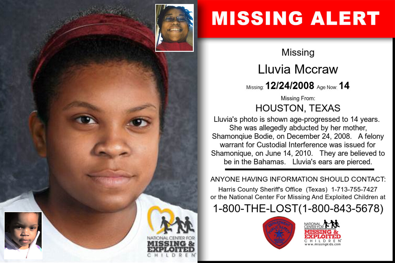 LLUVIA_MCCRAW missing in Texas