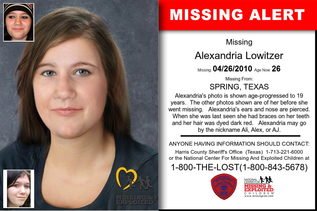 Alexandria_Lowitzer missing in Texas