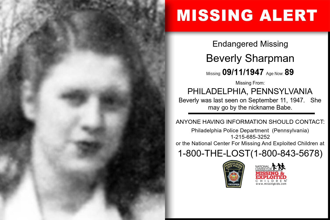 BEVERLY_SHARPMAN missing in Pennsylvania