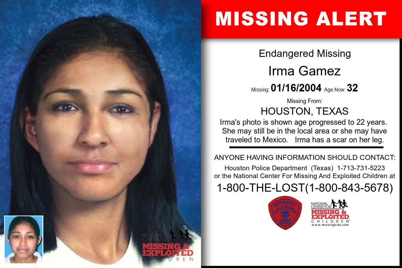 Irma_Gamez missing in Texas
