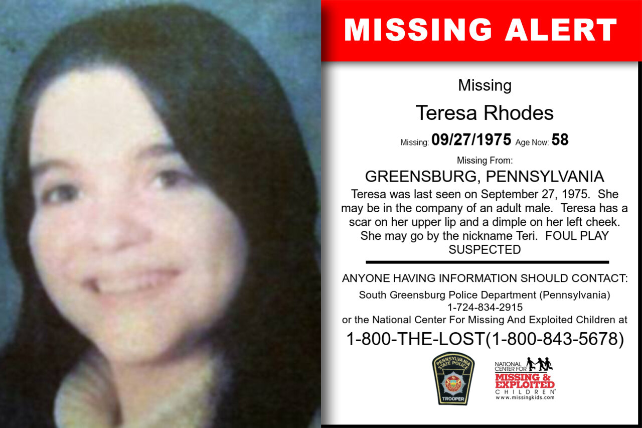 TERESA_RHODES missing in Pennsylvania