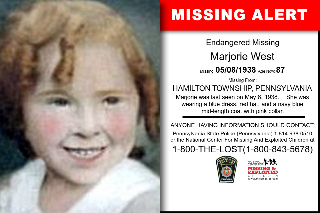 MARJORIE_WEST missing in Pennsylvania