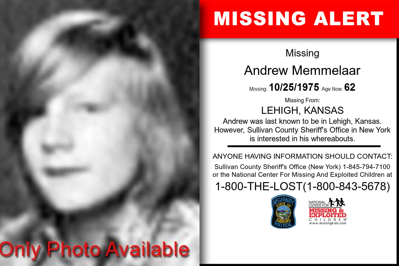 ANDREW_MEMMELAAR missing in Kansas