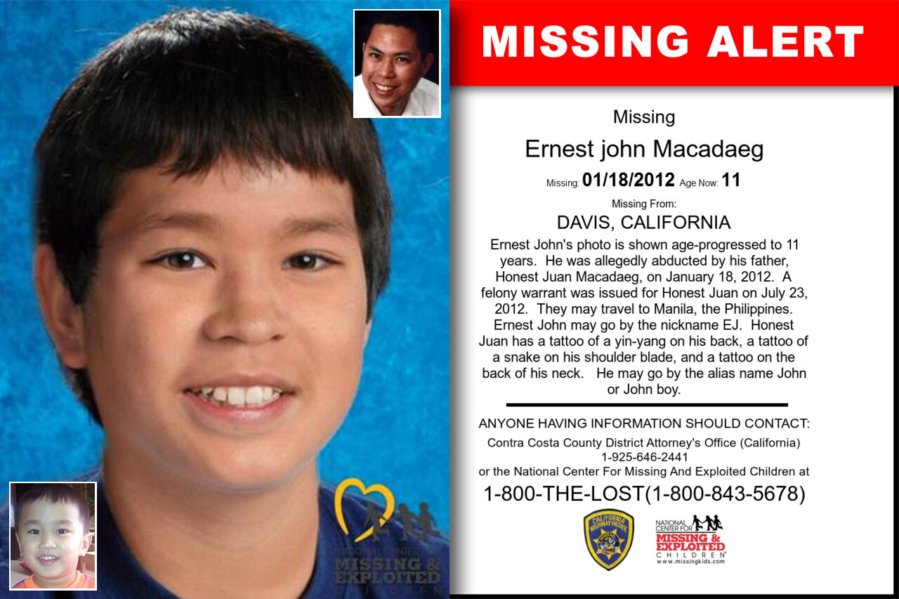 ERNEST_JOHN_MACADAEG missing in California