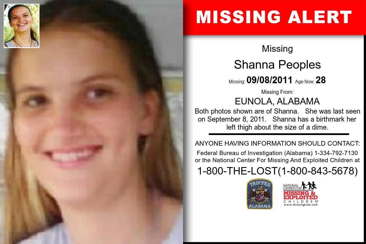 SHANNA_PEOPLES missing in Alabama