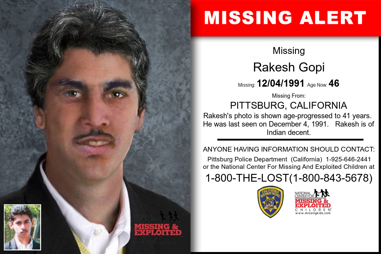Rakesh_Gopi missing in California