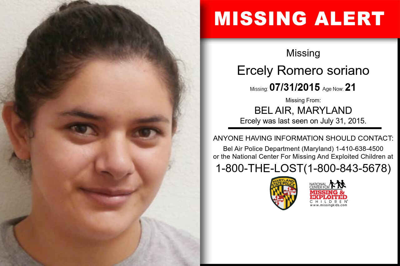 ERCELY_ROMERO_SORIANO missing in Maryland