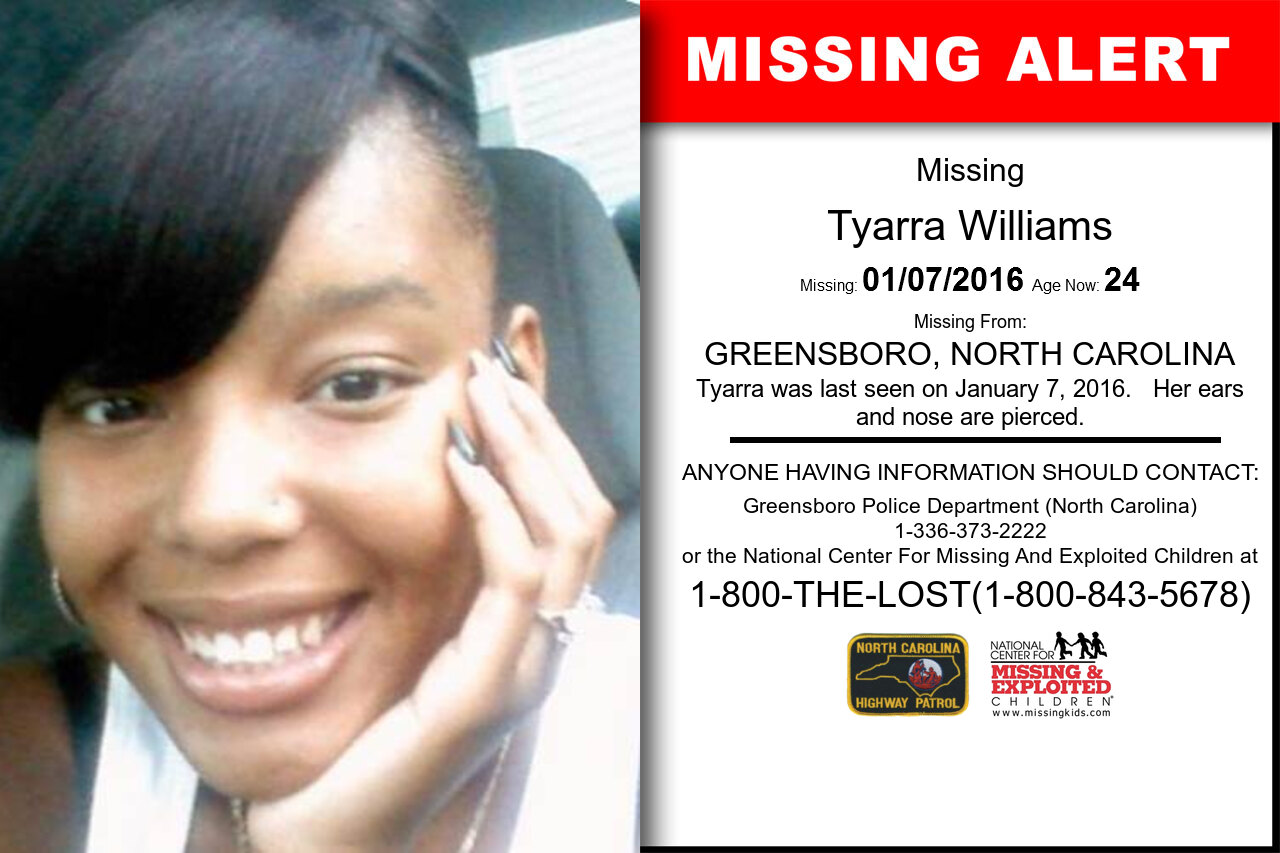 Tyarra_Williams missing in North_Carolina