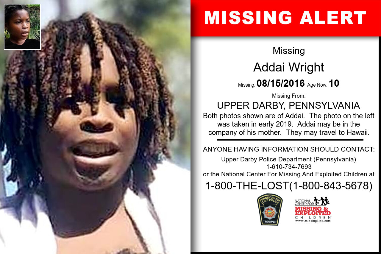 ADDAI_WRIGHT missing in Pennsylvania