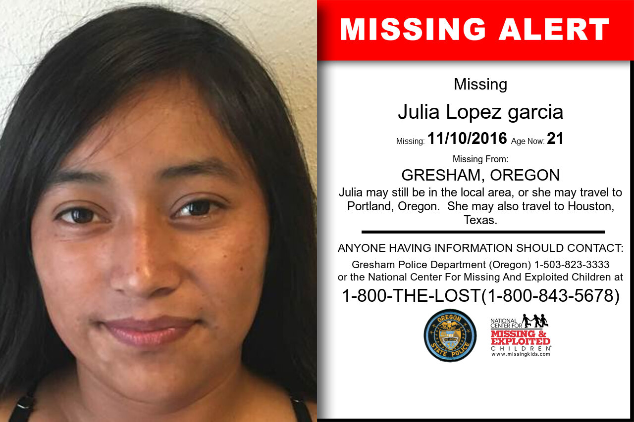Julia_Lopez_garcia missing in Oregon
