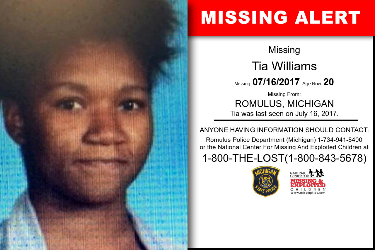 TIA_WILLIAMS missing in Michigan