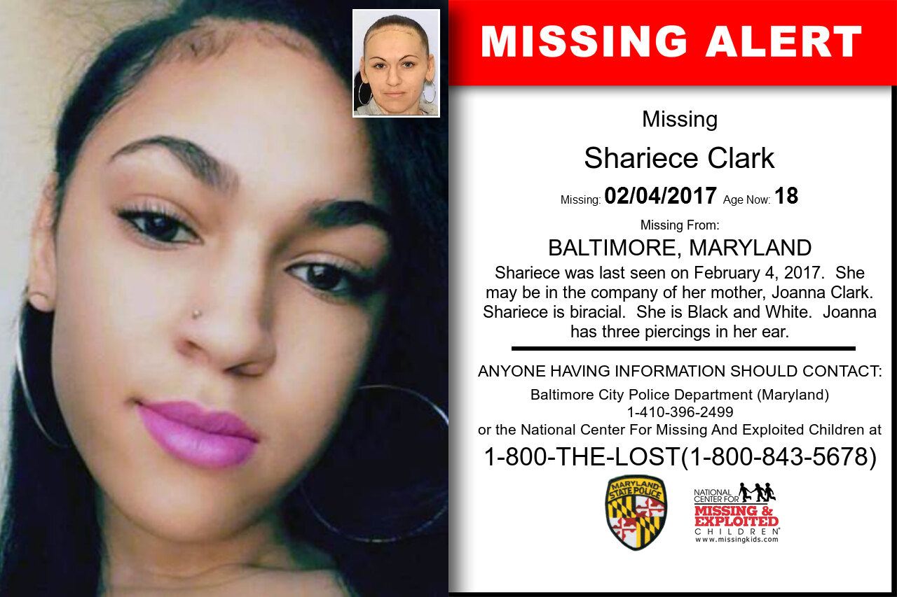 SHARIECE_CLARK missing in Maryland
