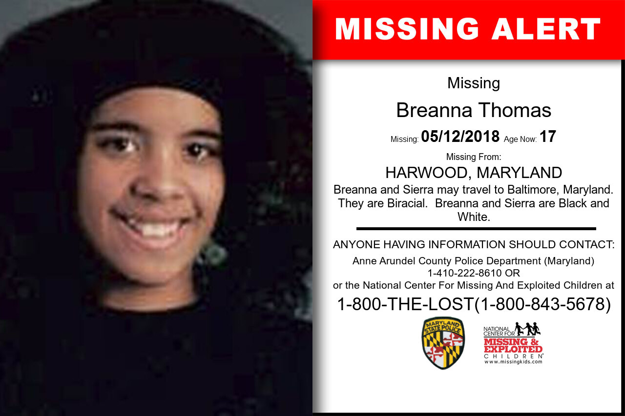 BREANNA_THOMAS missing in Maryland