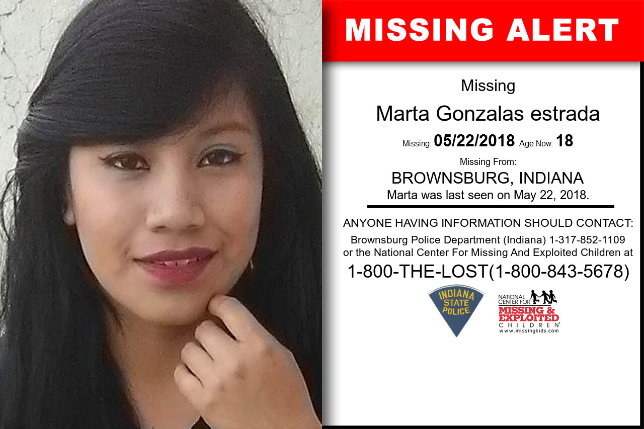 MARTA_GONZALAS_ESTRADA missing in Indiana
