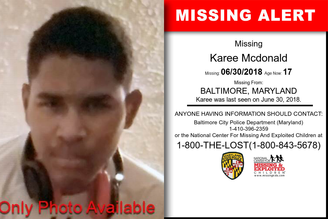 Karee_Mcdonald missing in Maryland