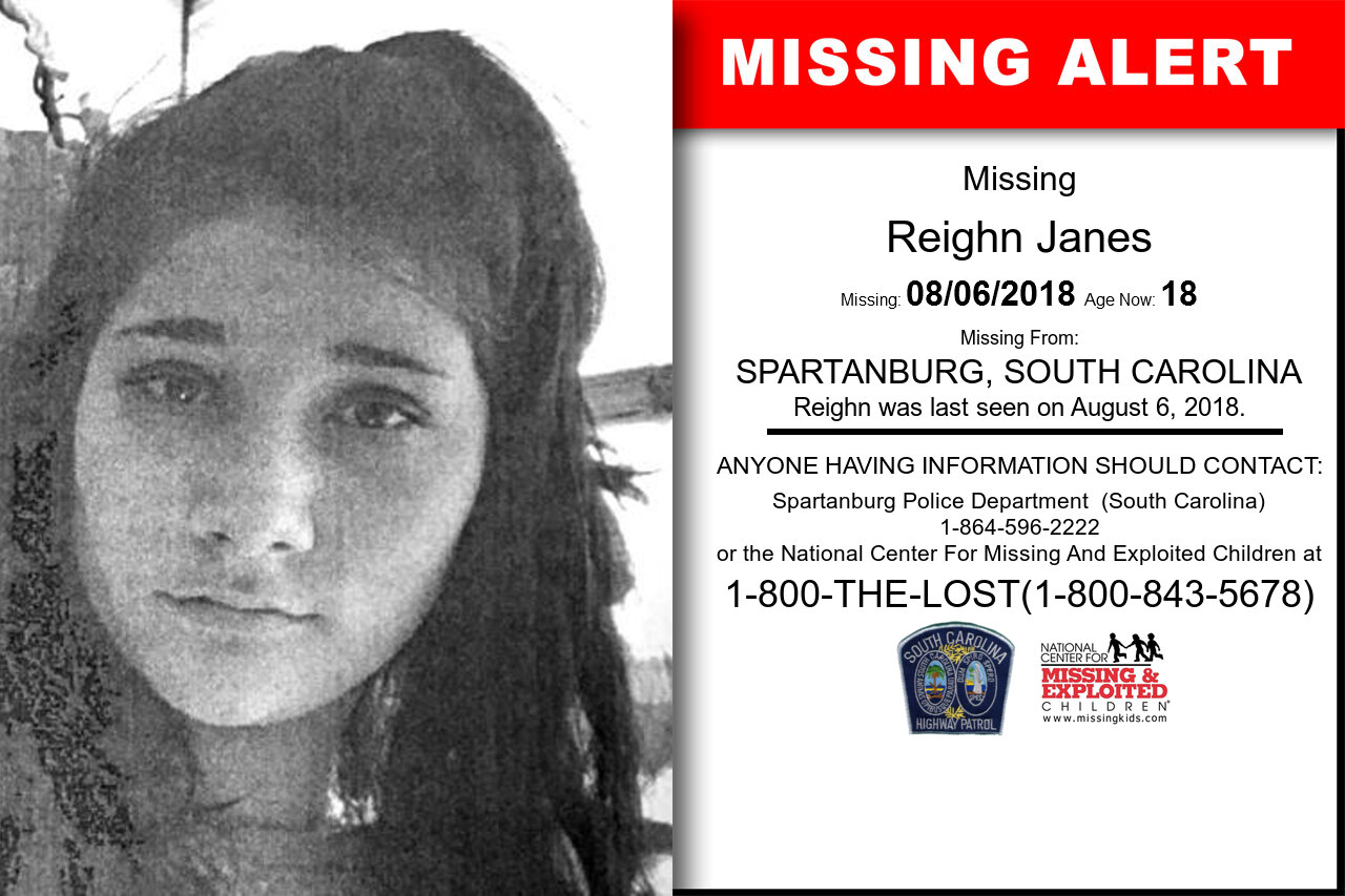 Reighn_Janes missing in South_Carolina