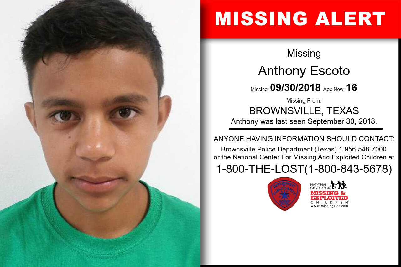 ANTHONY_ESCOTO missing in Texas