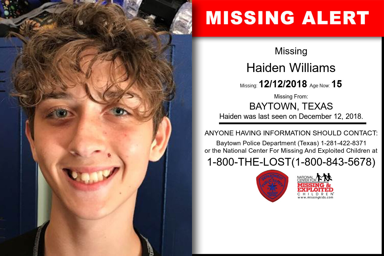 HAIDEN_WILLIAMS missing in Texas