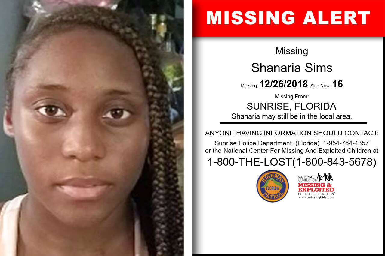Shanaria_Sims missing in Florida