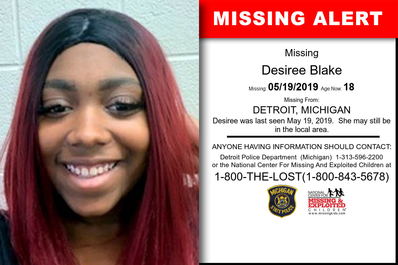 DESIREE_BLAKE missing in Michigan