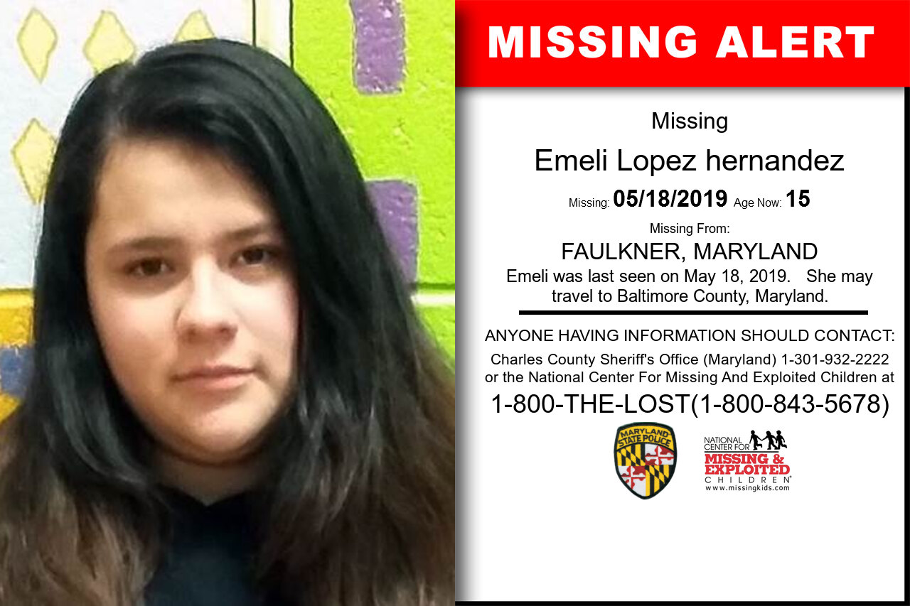 Emeli_Lopez_hernandez missing in Maryland