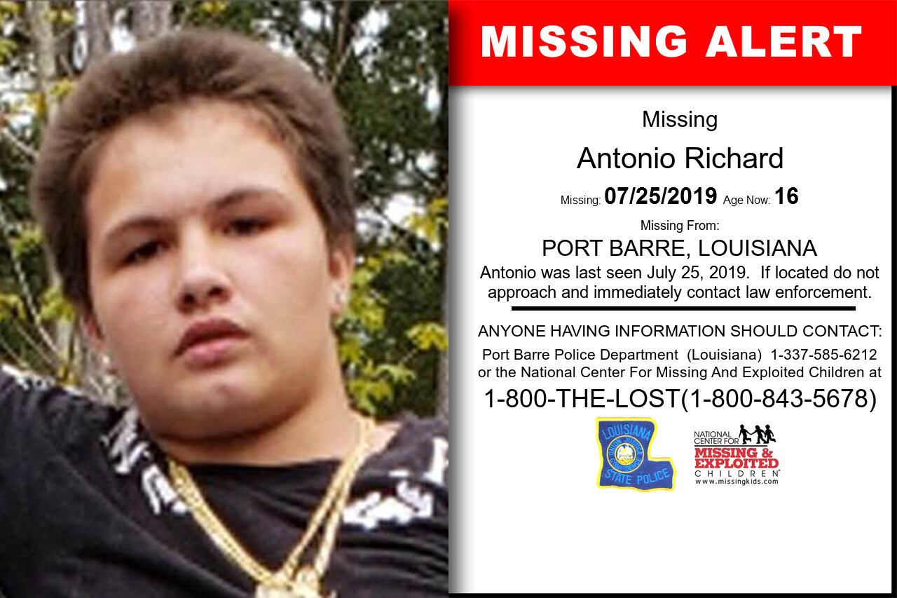 Antonio_Richard missing in Louisiana