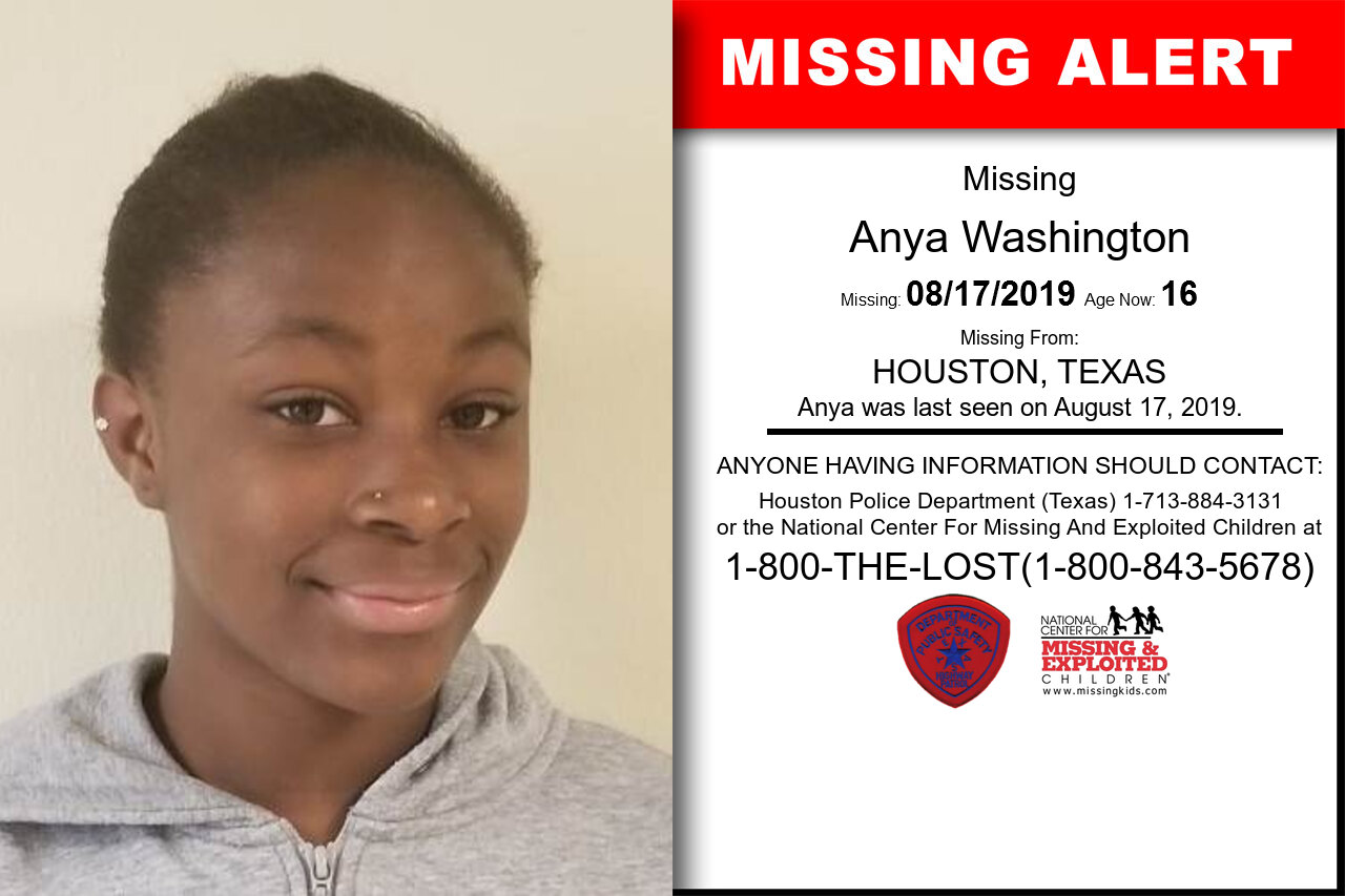 Anya_Washington missing in Texas