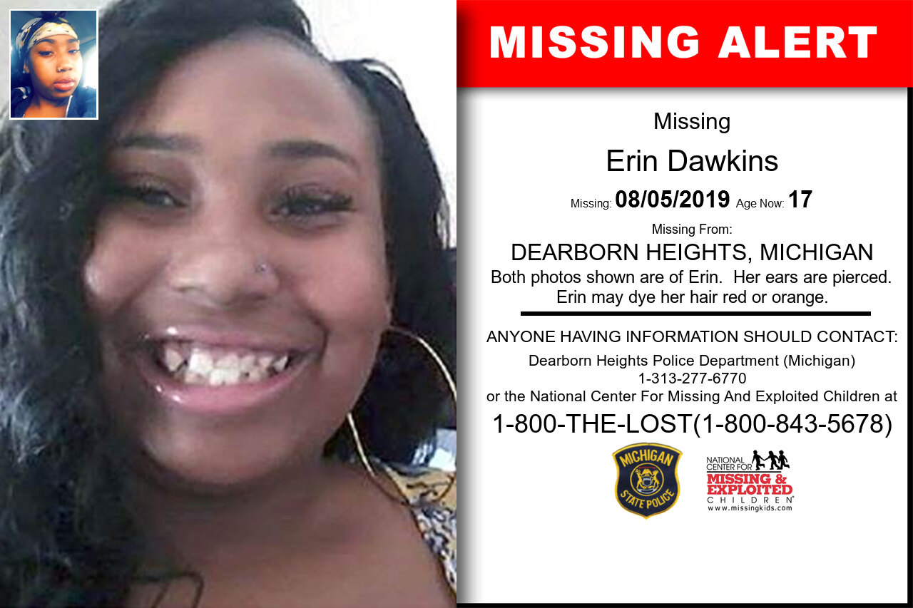 ERIN_DAWKINS missing in Michigan