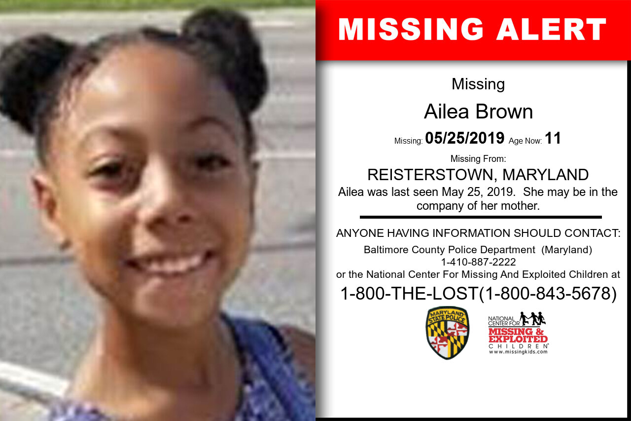 Ailea_Brown missing in Maryland