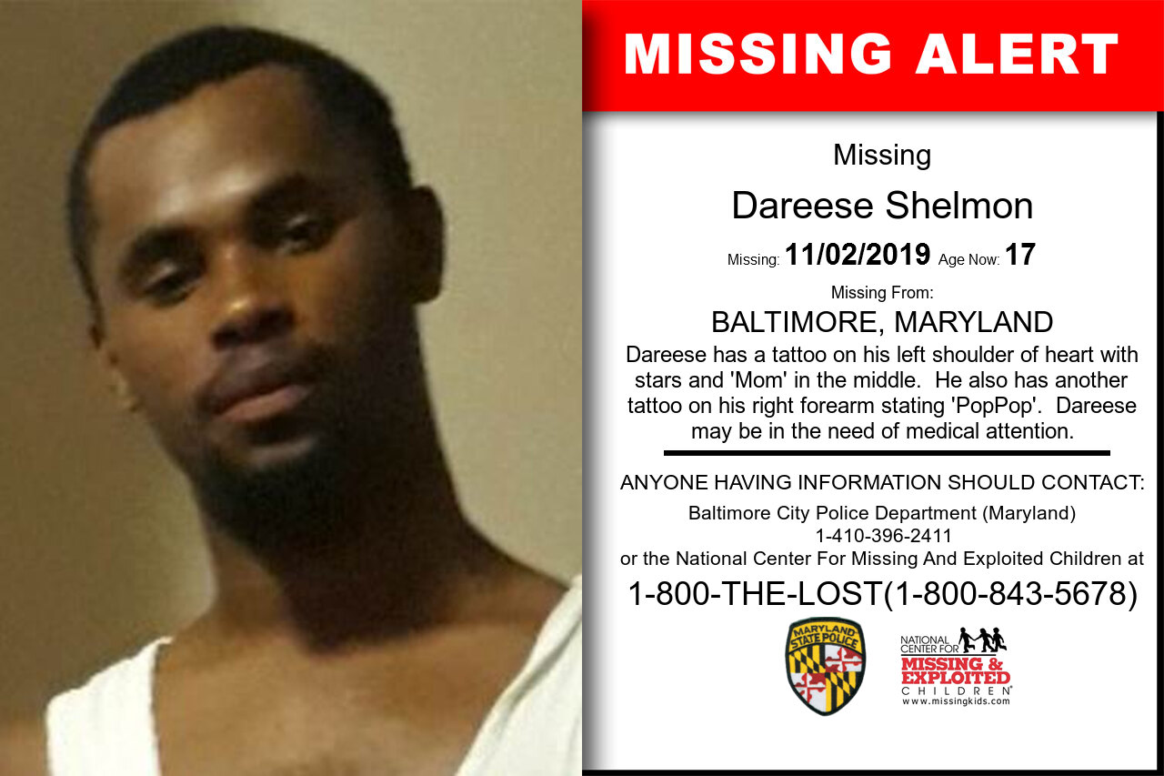 Dareese_Shelmon missing in Maryland