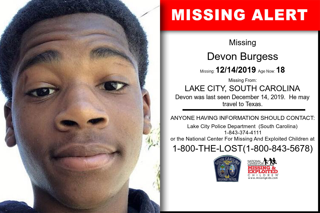 Devon_Burgess missing in South_Carolina