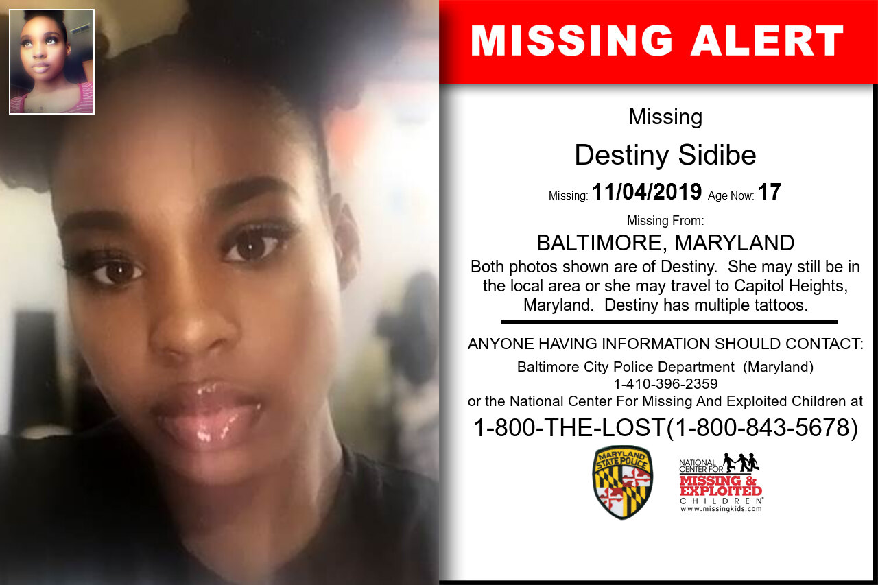 Destiny_Sidibe missing in Maryland