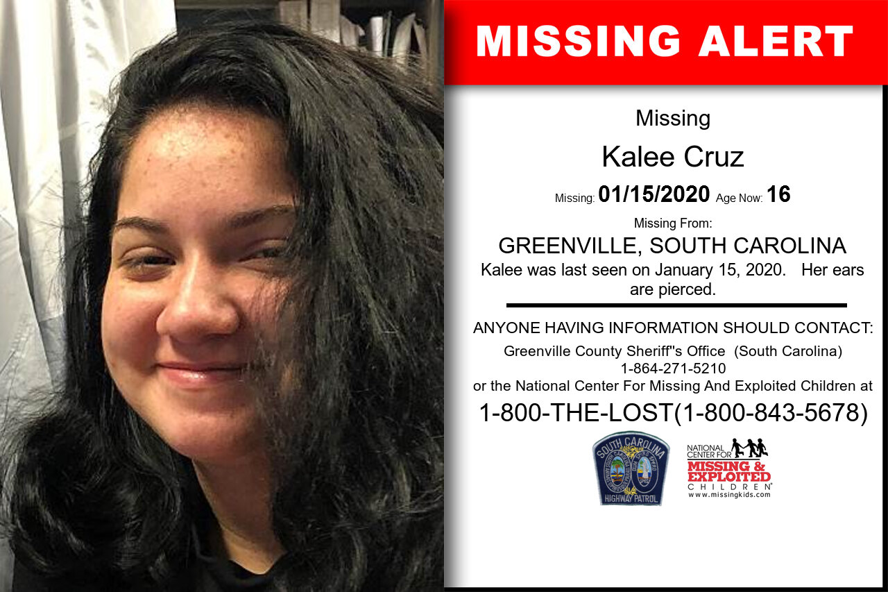 Kalee_Cruz missing in South_Carolina