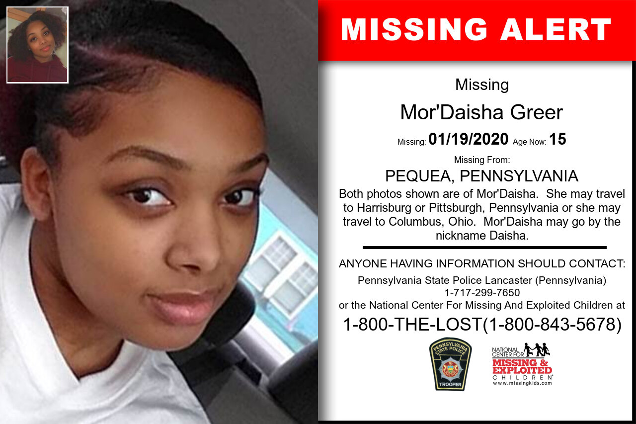 MOR'DAISHA_GREER missing in Pennsylvania