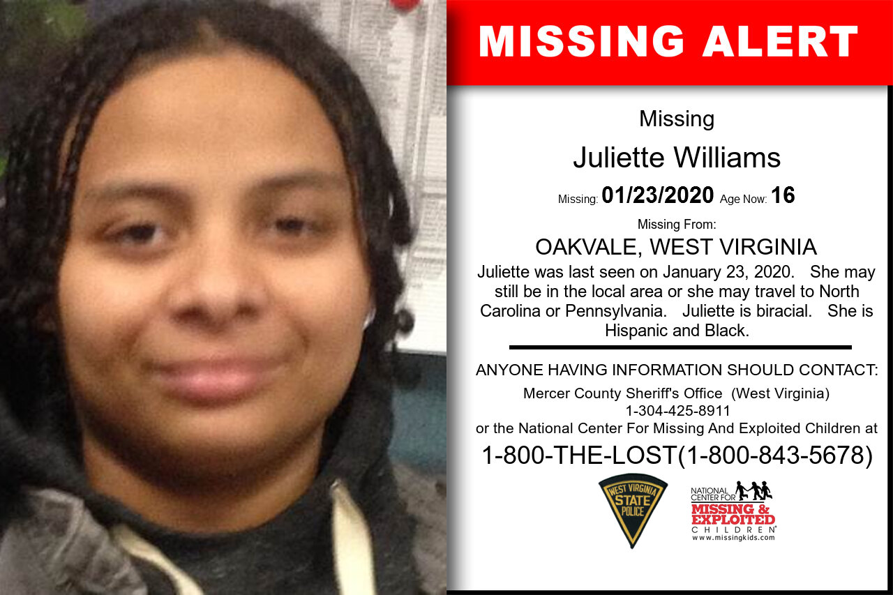 JULIETTE_WILLIAMS missing in West_Virginia