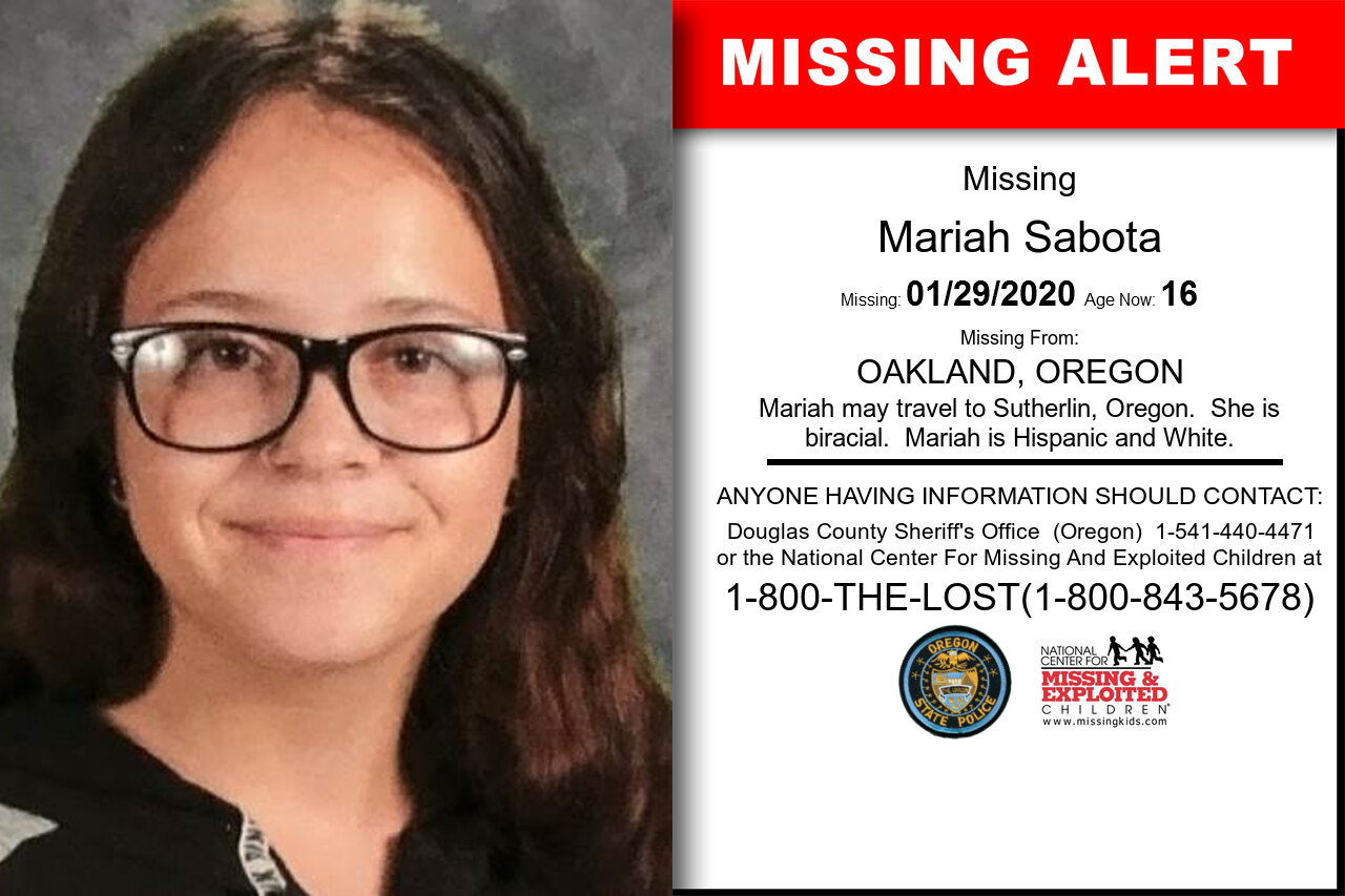 Mariah_Sabota missing in Oregon
