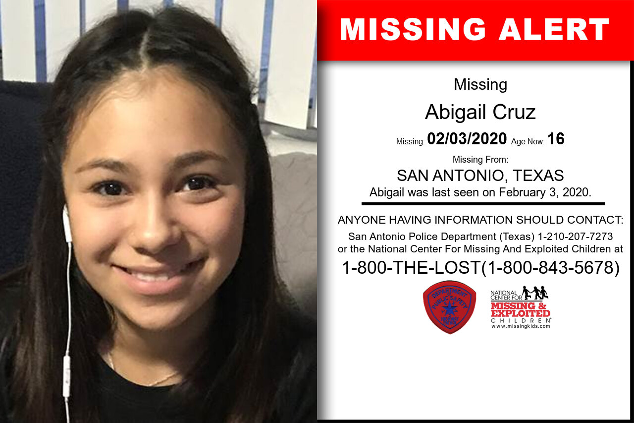 ABIGAIL_CRUZ missing in Texas