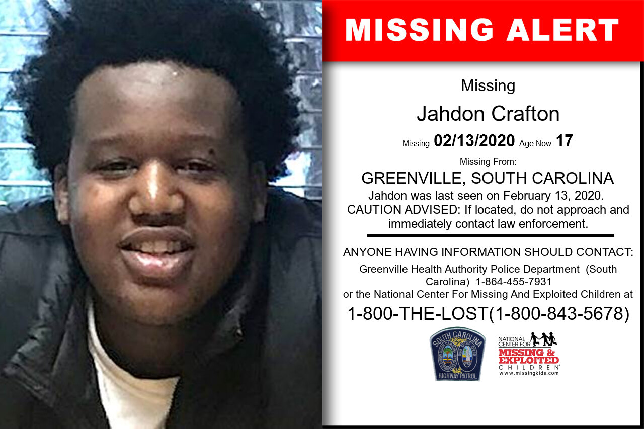 Jahdon_Crafton missing in South_Carolina