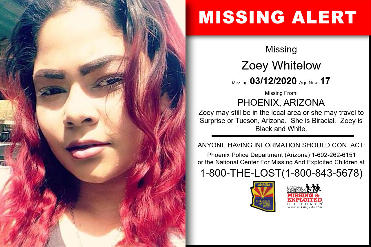 Zoey_Whitelow missing in Arizona