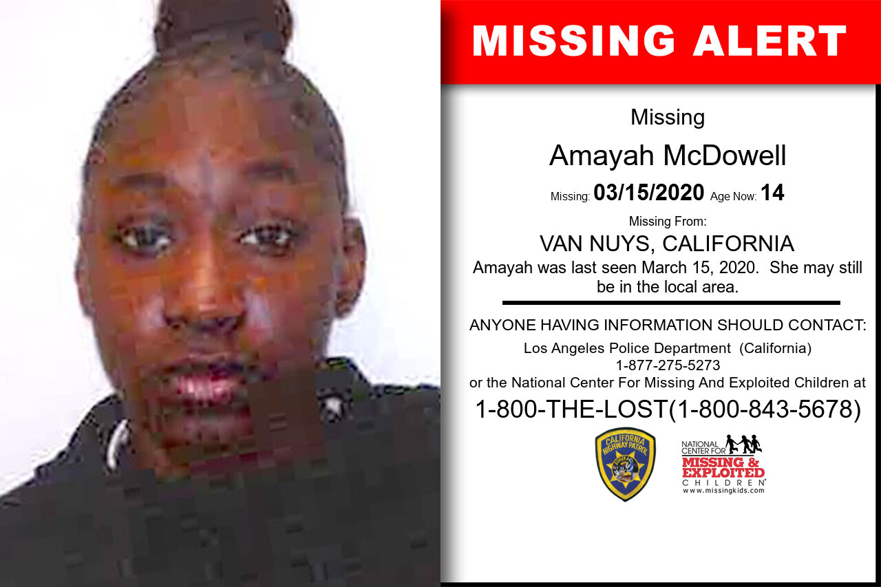 Amayah_McDowell missing in California
