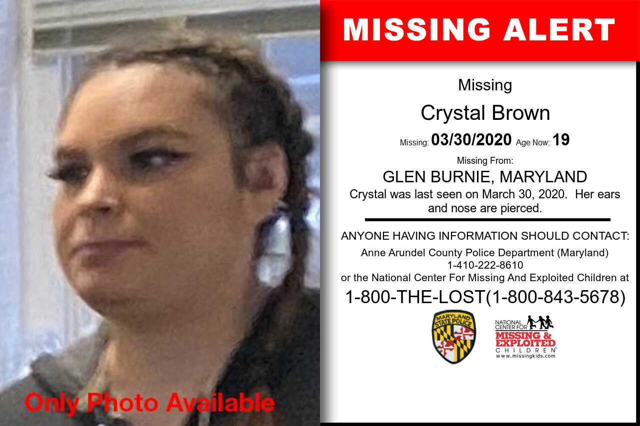 Crystal_Brown missing in Maryland