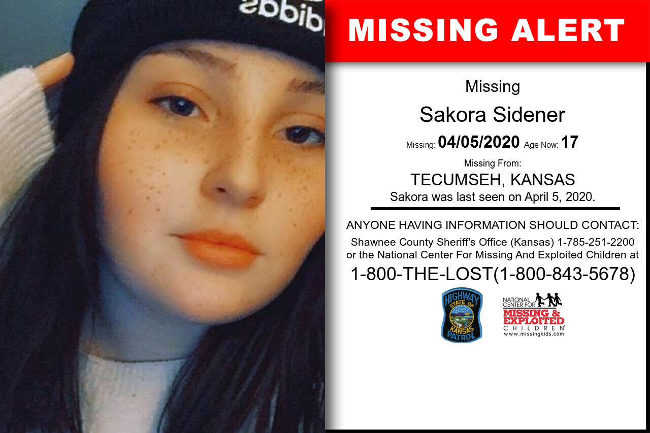 Sakora_Sidener missing in Kansas