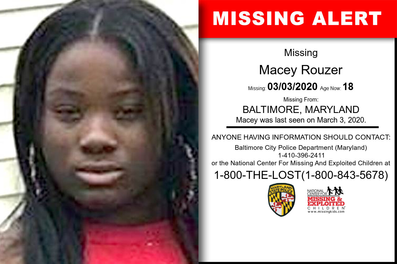 Macey_Rouzer missing in Maryland