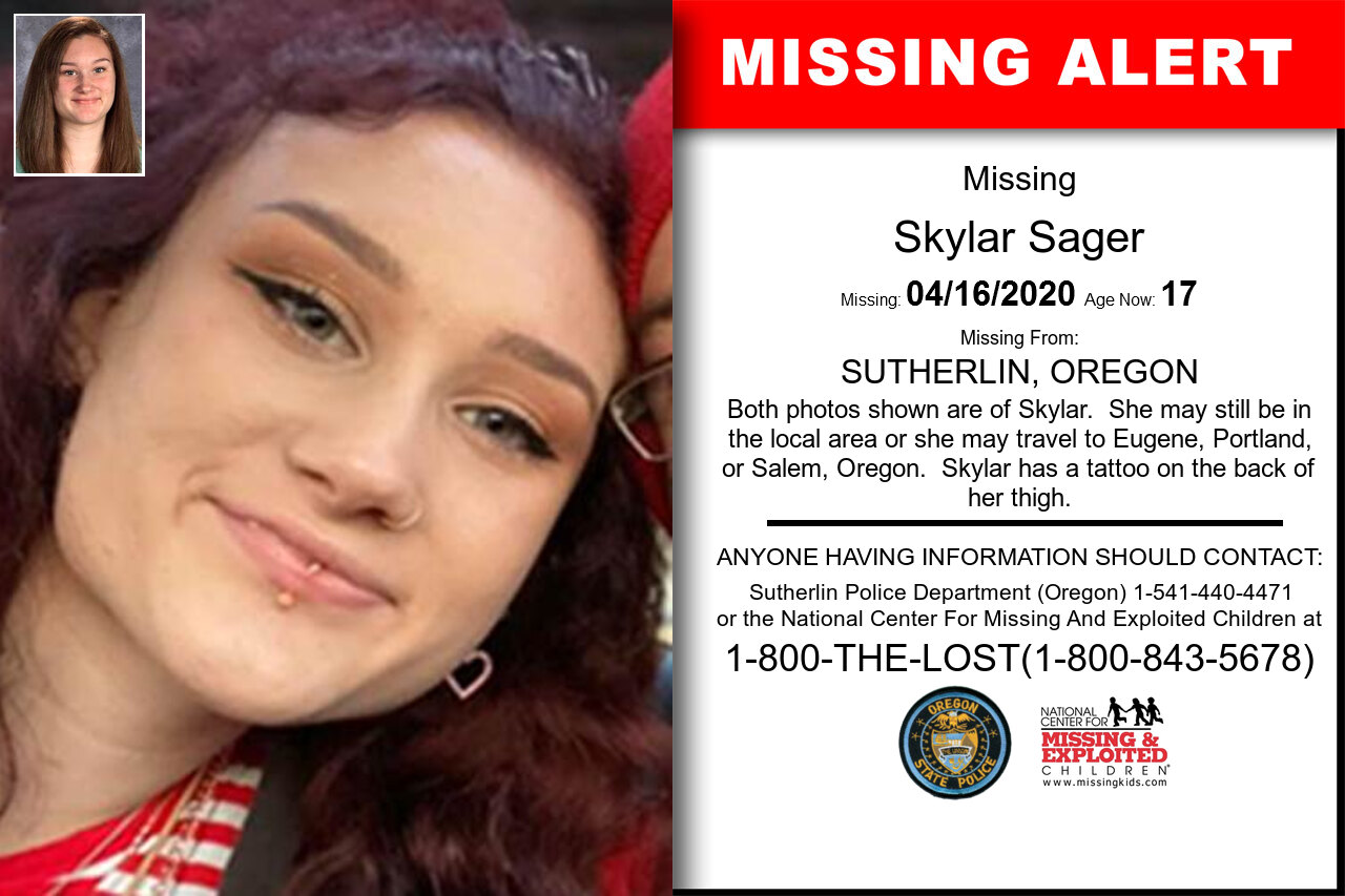Skylar_Sager missing in Oregon