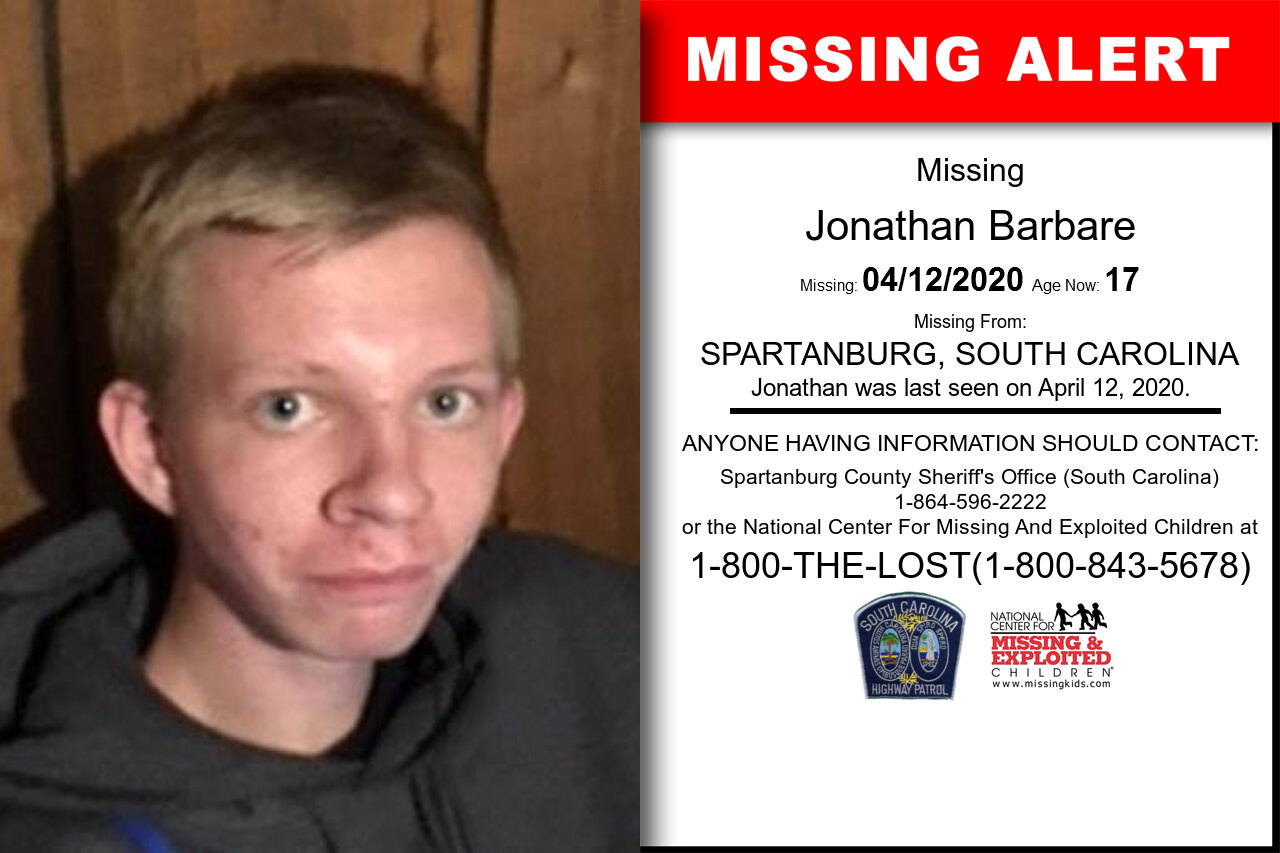 Jonathan_Barbare missing in South_Carolina