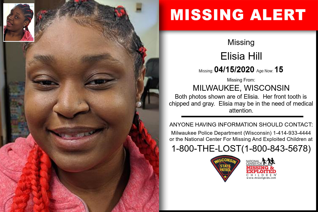 Elisia_Hill missing in Wisconsin