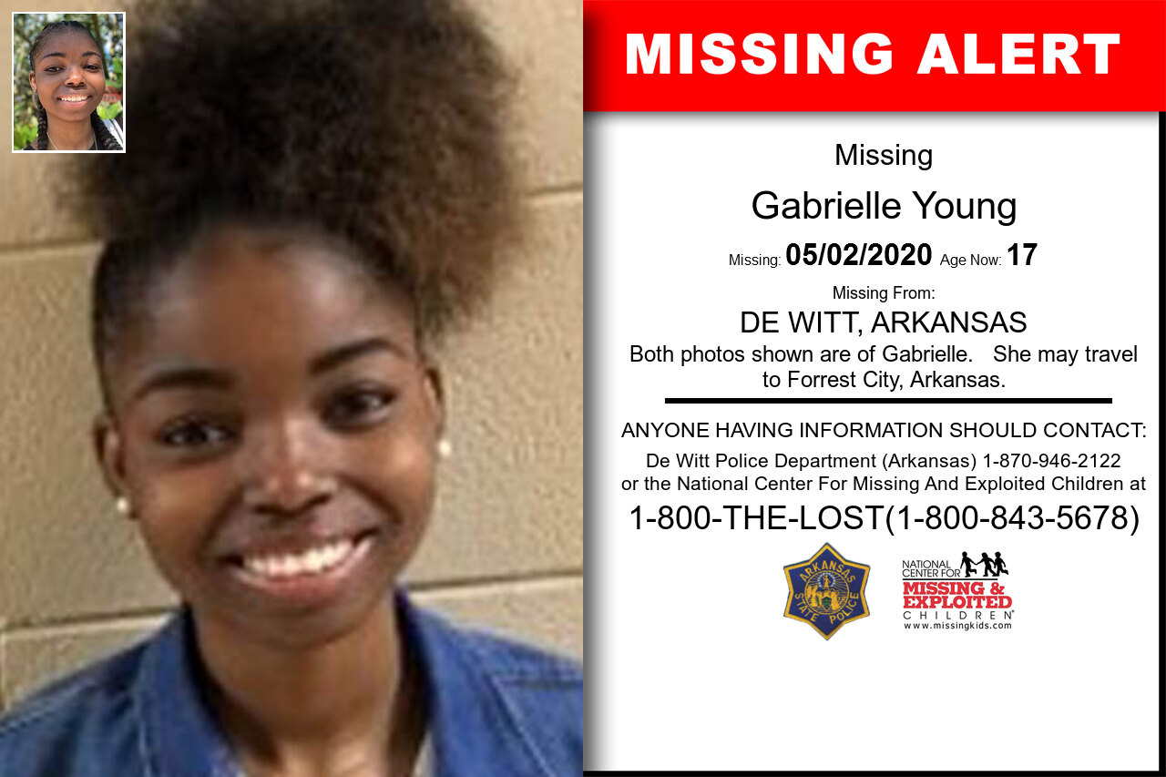 Gabrielle_Young missing in Arkansas