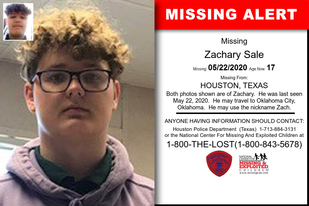 Zachary_Sale missing in Texas