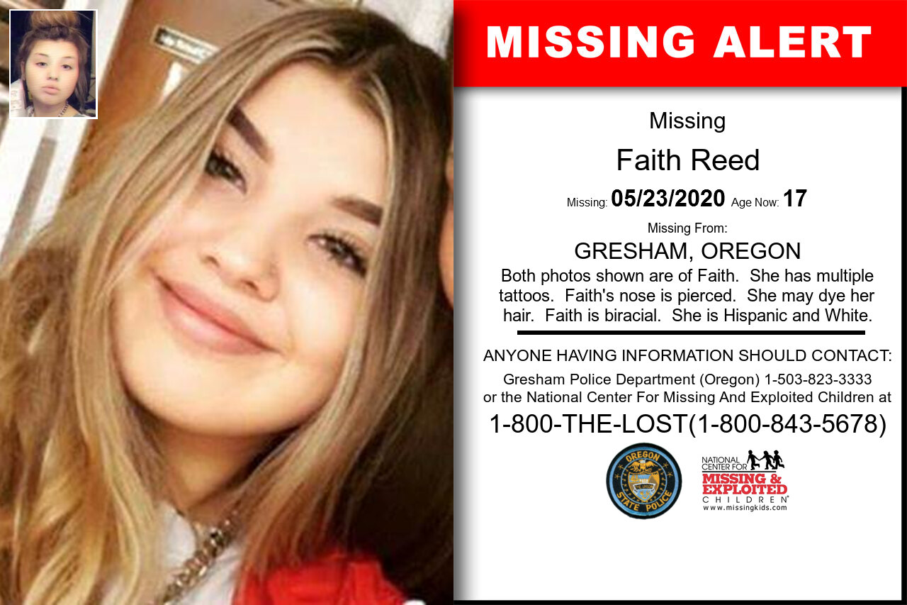 Faith_Reed missing in Oregon
